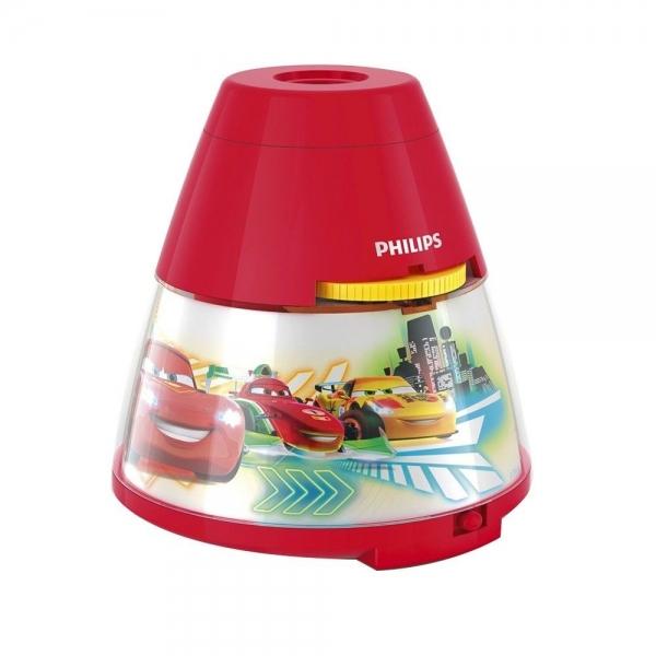 Proiector și lampă de veghe 2 în 1,Disney Cars 3xLED/0,1W si 0,3W IP20, Philips 0