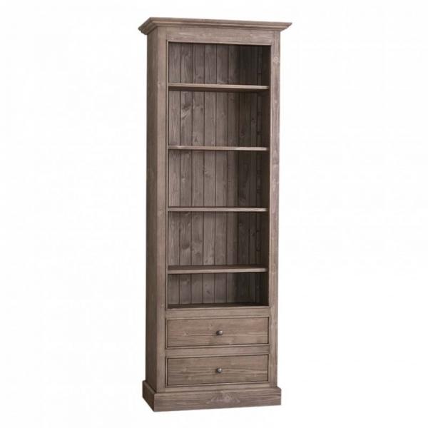 Biblioteca cu 2 sertare, etajera deschisa cu finisaj periat usor 0
