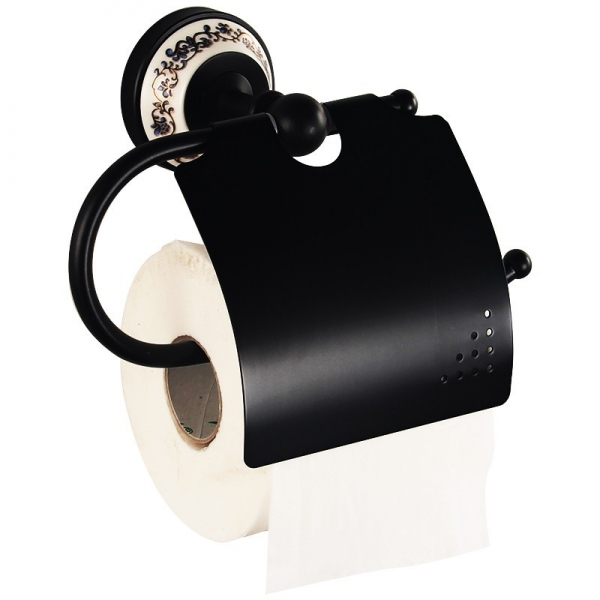 Suport pentru hartia igienica, culoare negru, Foglia