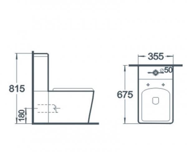 Vas wc Square duobloc + capac soft close inclus 1